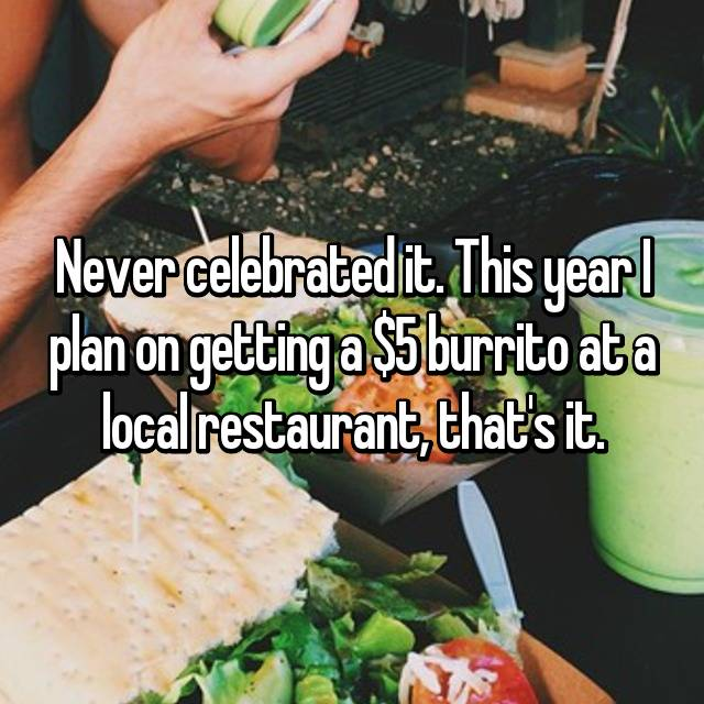 Never celebrated it. This year I plan on getting a $5 burrito at a local restaurant, that's it.
