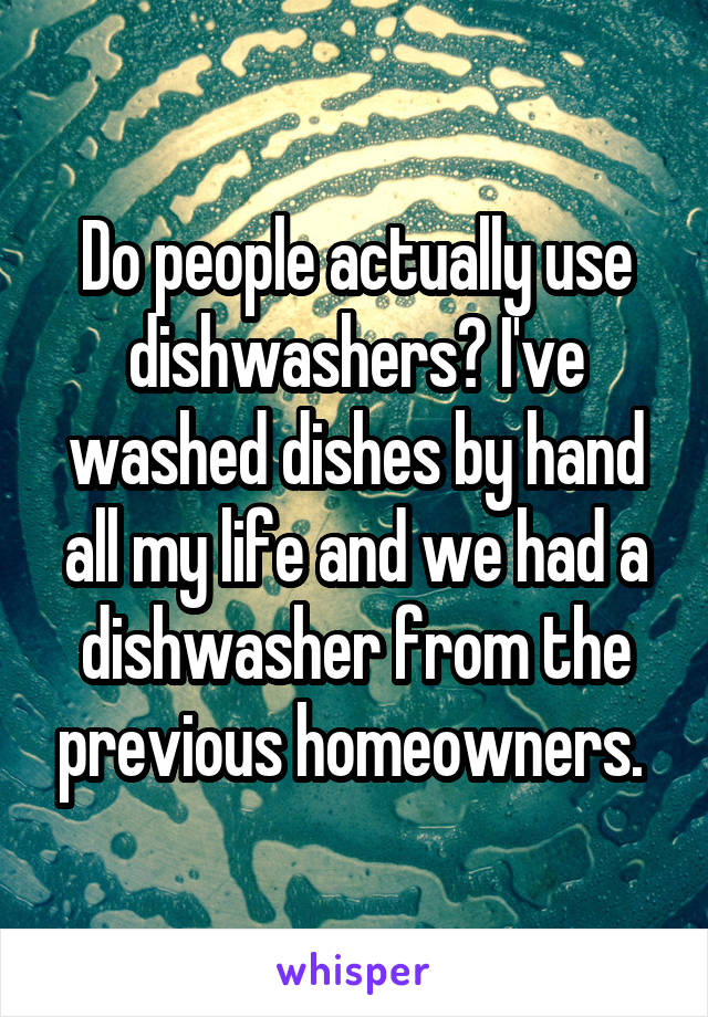 Do people actually use dishwashers? I've washed dishes by hand all my life and we had a dishwasher from the previous homeowners.