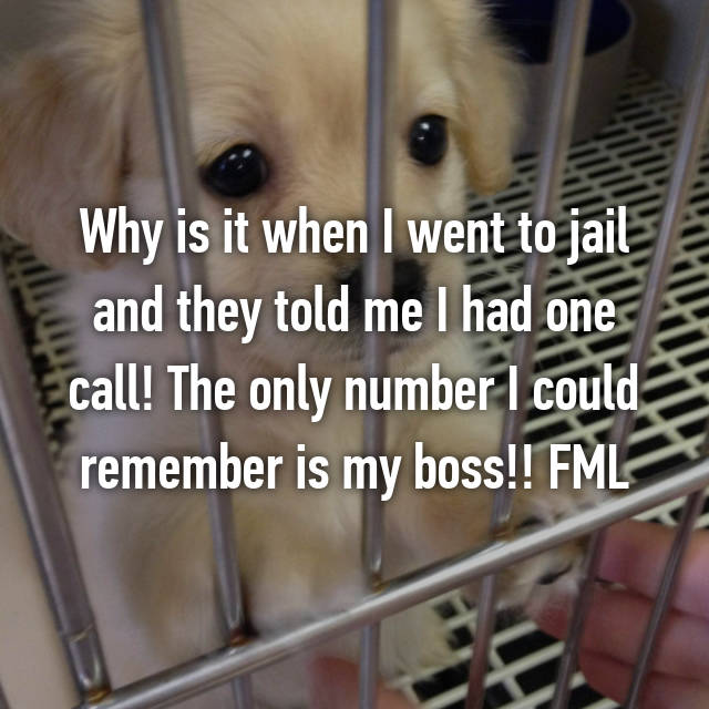 Why is it when I went to jail and they told me I had one call! The only number I could remember is my boss!! FML