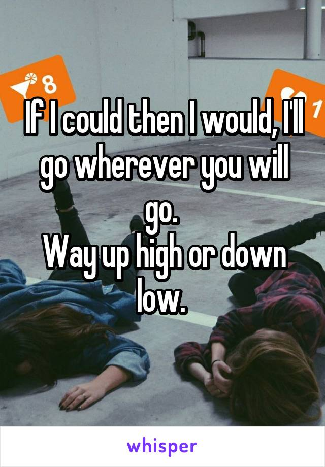 If I could then I would, I'll go wherever you will go.  Way up high or down low.