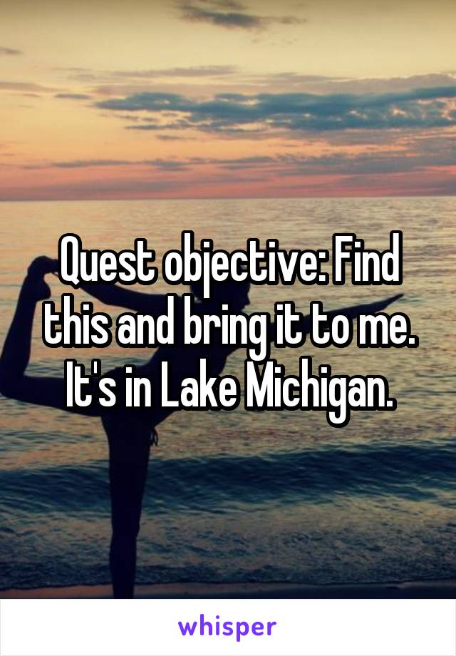 Quest objective: Find this and bring it to me. It's in Lake Michigan.