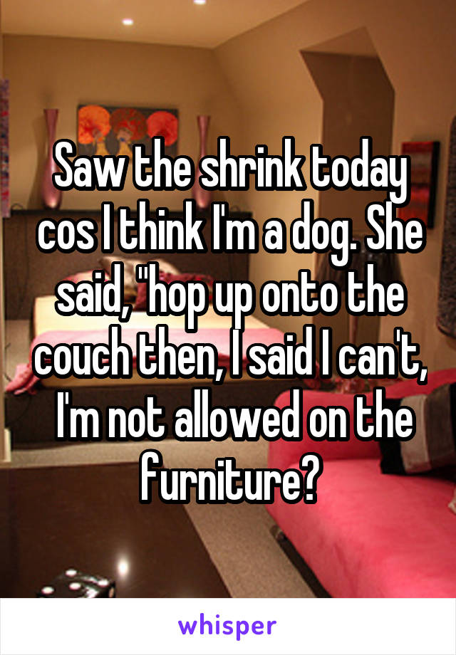 """Saw the shrink today cos I think I'm a dog. She said, """"hop up onto the couch then, I said I can't,  I'm not allowed on the furniture💥"""