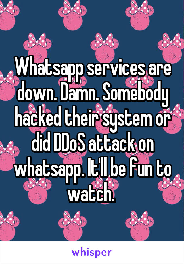 Whatsapp services are down. Damn. Somebody hacked their system or did DDoS attack on whatsapp. It'll be fun to watch.