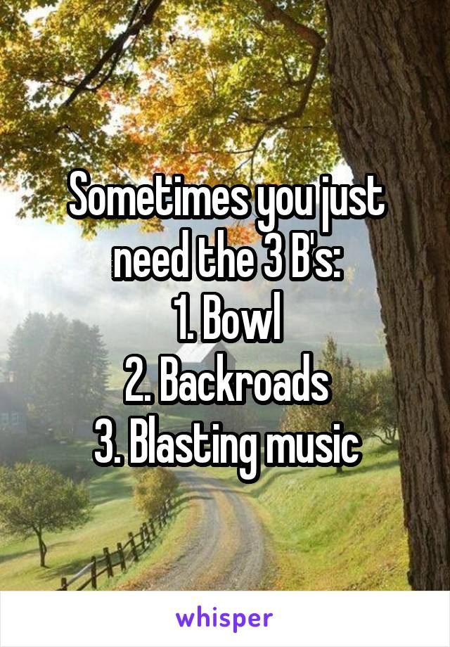 Sometimes you just need the 3 B's: 1. Bowl 2. Backroads 3. Blasting music