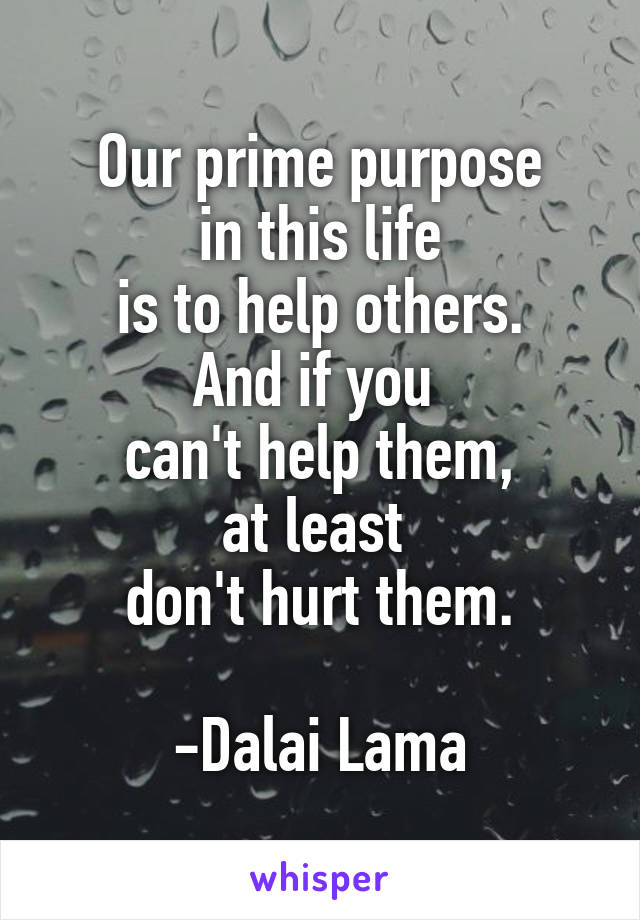 Our prime purpose in this life is to help others. And if you  can't help them, at least  don't hurt them.  -Dalai Lama