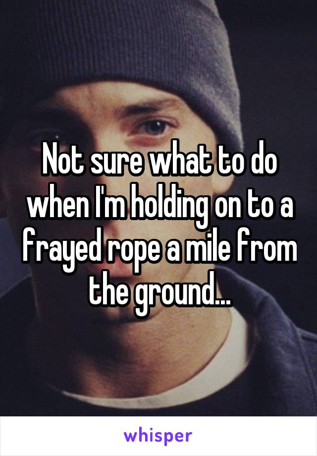 Not sure what to do when I'm holding on to a frayed rope a mile from the ground...