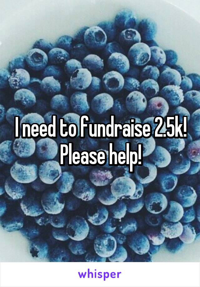 I need to fundraise 2.5k! Please help!