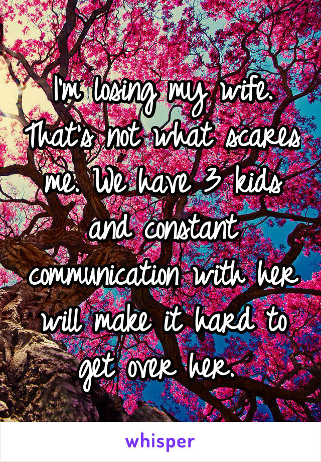I'm losing my wife. That's not what scares me. We have 3 kids and constant communication with her will make it hard to get over her.