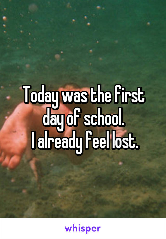 Today was the first day of school.  I already feel lost.