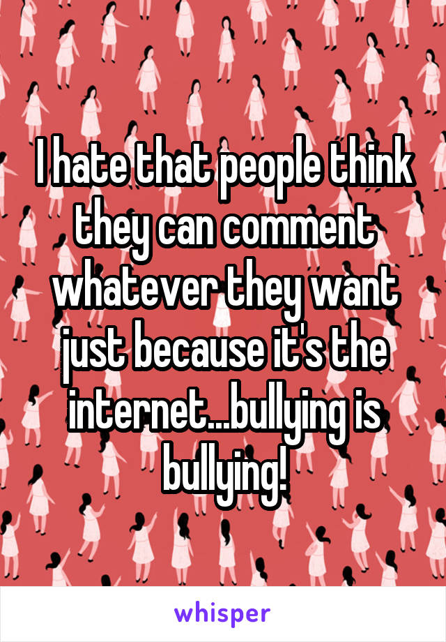 I hate that people think they can comment whatever they want just because it's the internet...bullying is bullying!