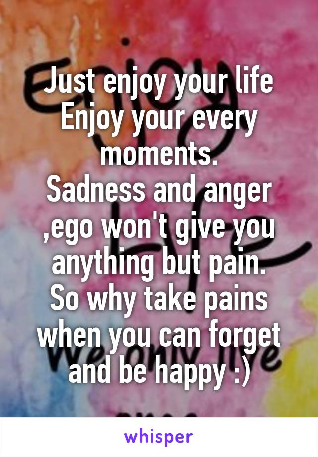 Just enjoy your life Enjoy your every moments. Sadness and anger ,ego won't give you anything but pain. So why take pains when you can forget and be happy :)