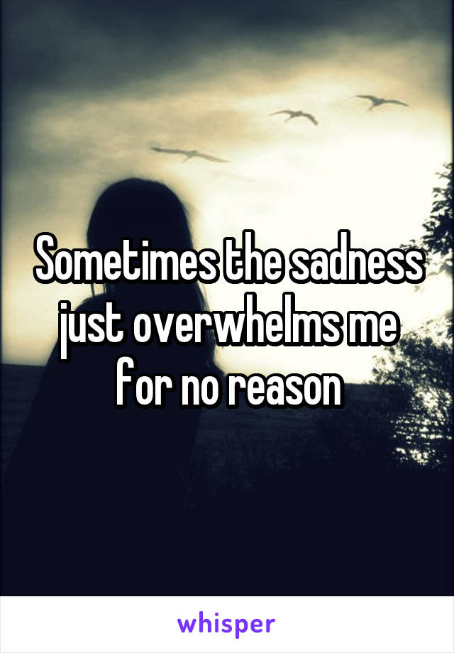 Sometimes the sadness just overwhelms me for no reason