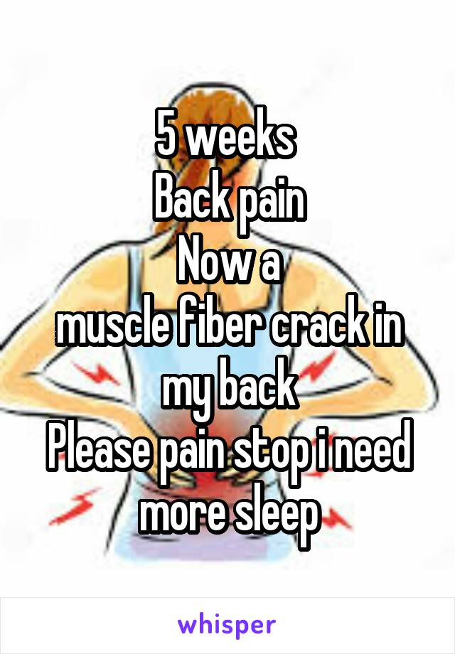 5 weeks  Back pain Now a muscle fiber crack in my back Please pain stop i need more sleep