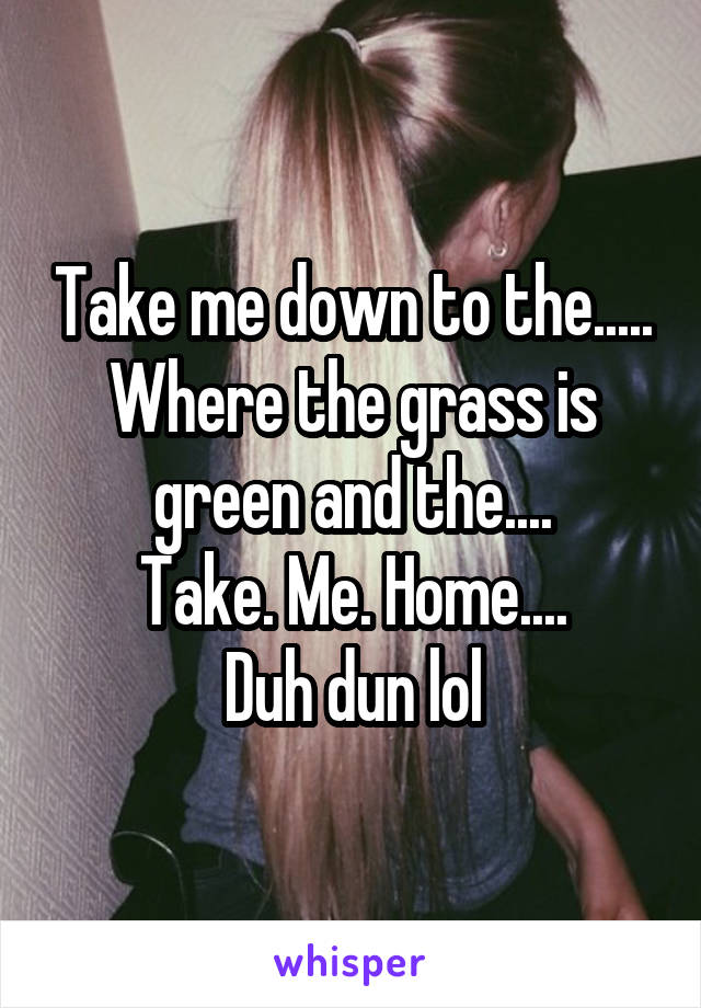 Take me down to the..... Where the grass is green and the.... Take. Me. Home.... Duh dun lol