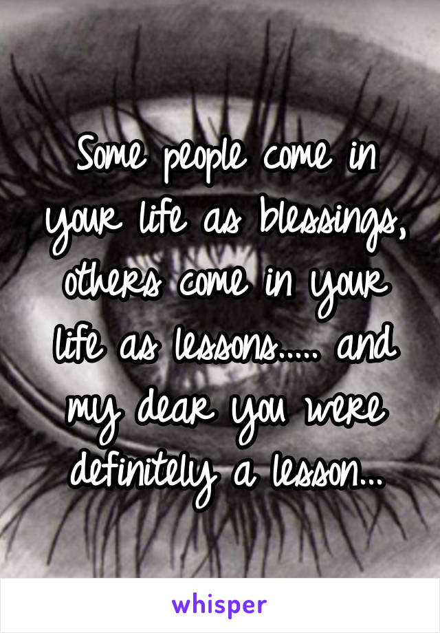 Some people come in your life as blessings, others come in your life as lessons..... and my dear you were definitely a lesson...