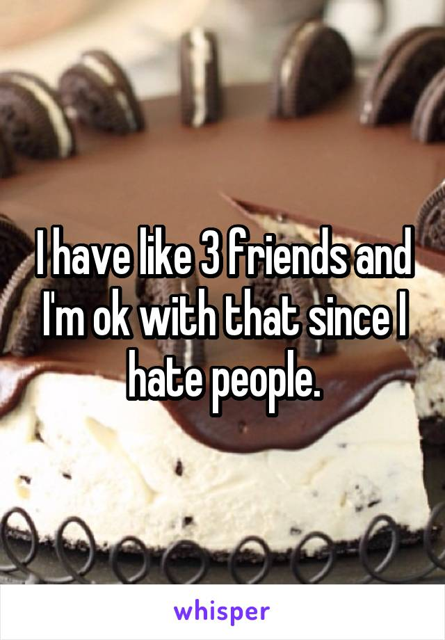 I have like 3 friends and I'm ok with that since I hate people.