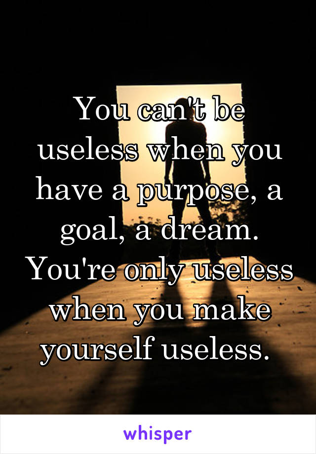 You can't be useless when you have a purpose, a goal, a dream. You're only useless when you make yourself useless.