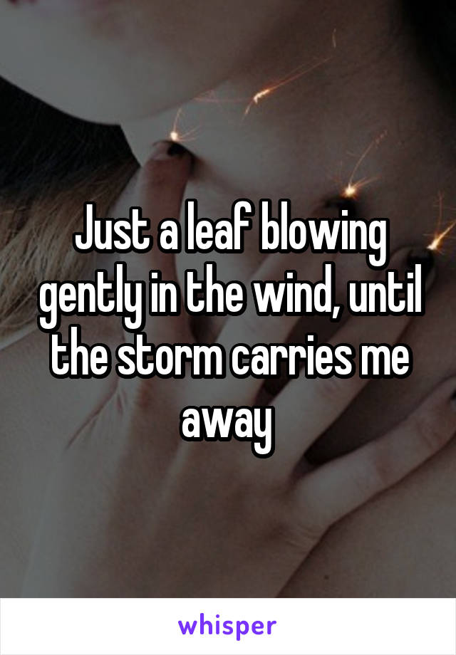 Just a leaf blowing gently in the wind, until the storm carries me away