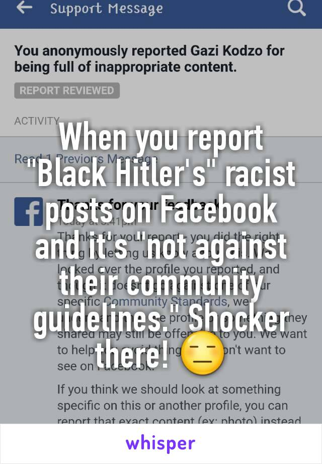 """When you report """"Black Hitler's"""" racist posts on Facebook and it's """"not against their community guidelines."""" Shocker there! 😑"""