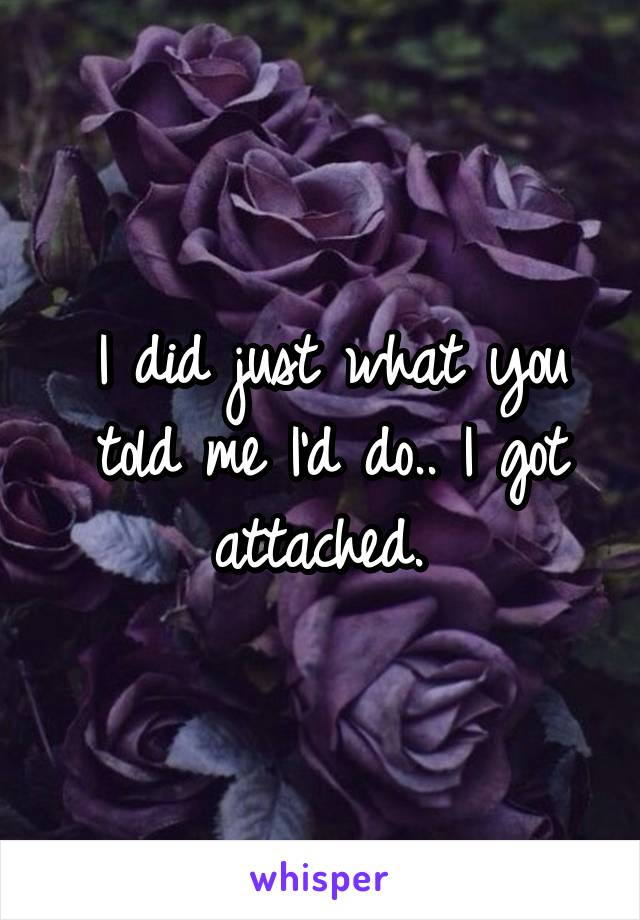 I did just what you told me I'd do.. I got attached.