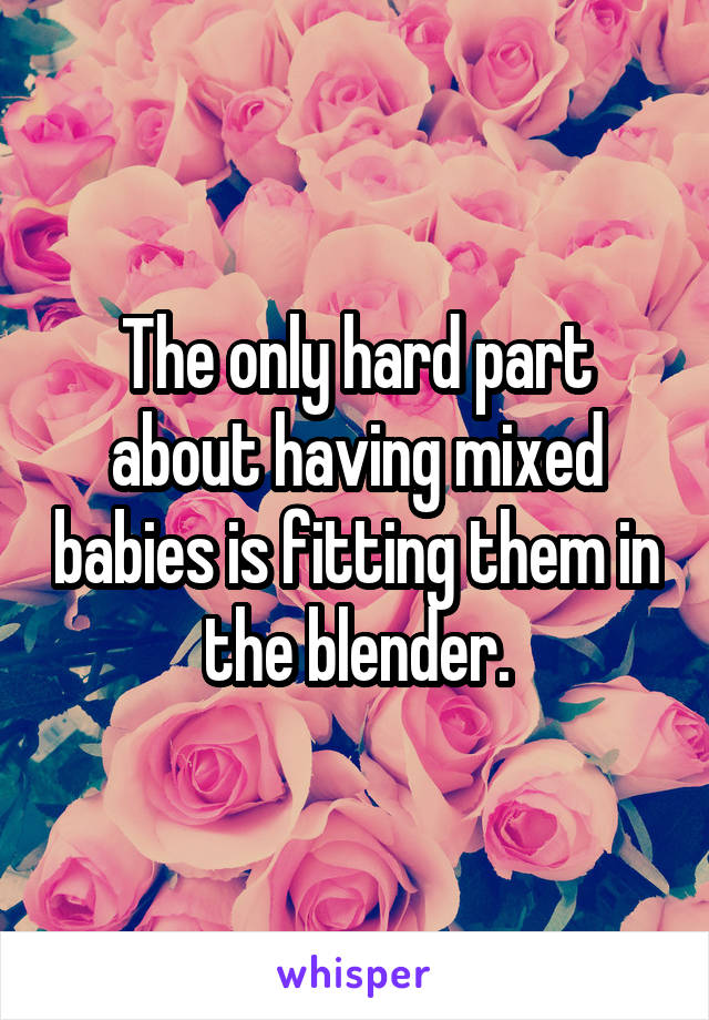 The only hard part about having mixed babies is fitting them in the blender.
