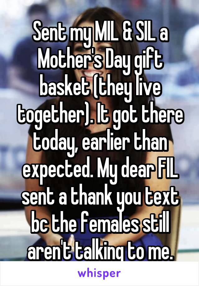 Sent my MIL & SIL a Mother's Day gift basket (they live together). It got there today, earlier than expected. My dear FIL sent a thank you text bc the females still aren't talking to me.