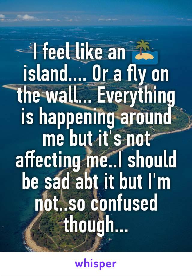 I feel like an 🏝️ island.... Or a fly on the wall... Everything is happening around me but it's not affecting me..I should be sad abt it but I'm not..so confused though...