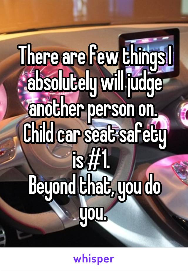 There are few things I absolutely will judge another person on.  Child car seat safety is #1.   Beyond that, you do you.