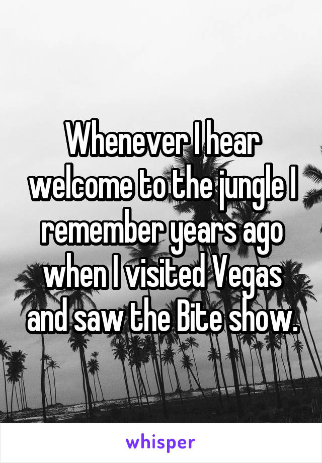 Whenever I hear welcome to the jungle I remember years ago when I visited Vegas and saw the Bite show.