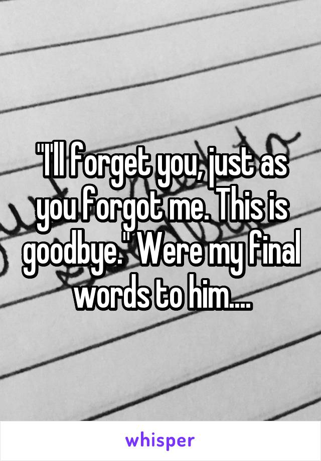 """I'll forget you, just as you forgot me. This is goodbye."" Were my final words to him...."
