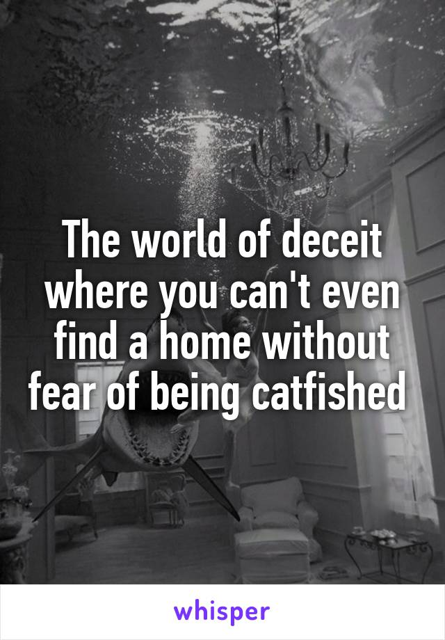 The world of deceit where you can't even find a home without fear of being catfished