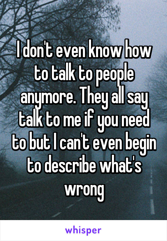 I don't even know how to talk to people anymore. They all say talk to me if you need to but I can't even begin to describe what's wrong
