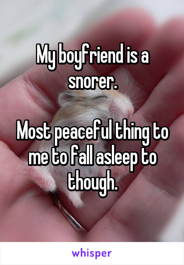 My boyfriend is a snorer.  Most peaceful thing to me to fall asleep to though.