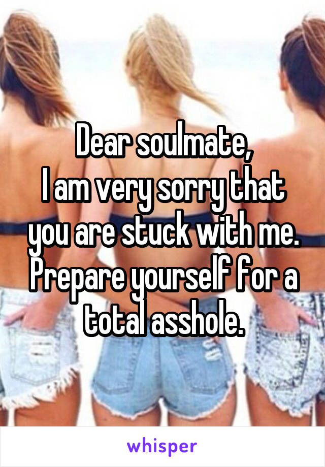 Dear soulmate, I am very sorry that you are stuck with me. Prepare yourself for a total asshole.