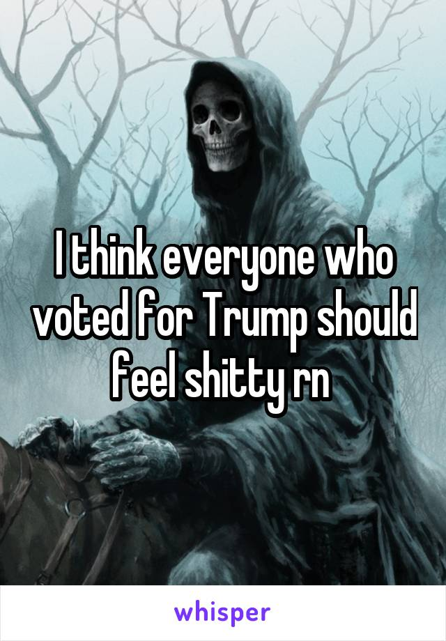 I think everyone who voted for Trump should feel shitty rn