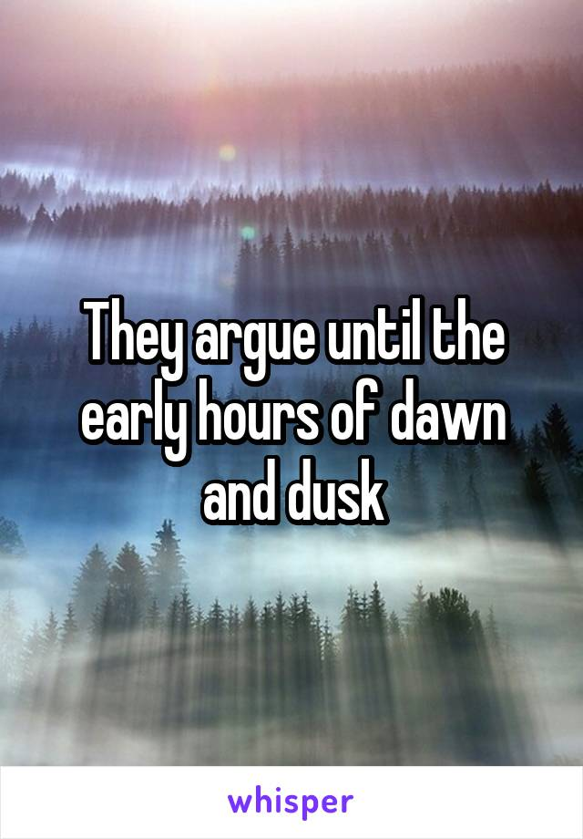 They argue until the early hours of dawn and dusk
