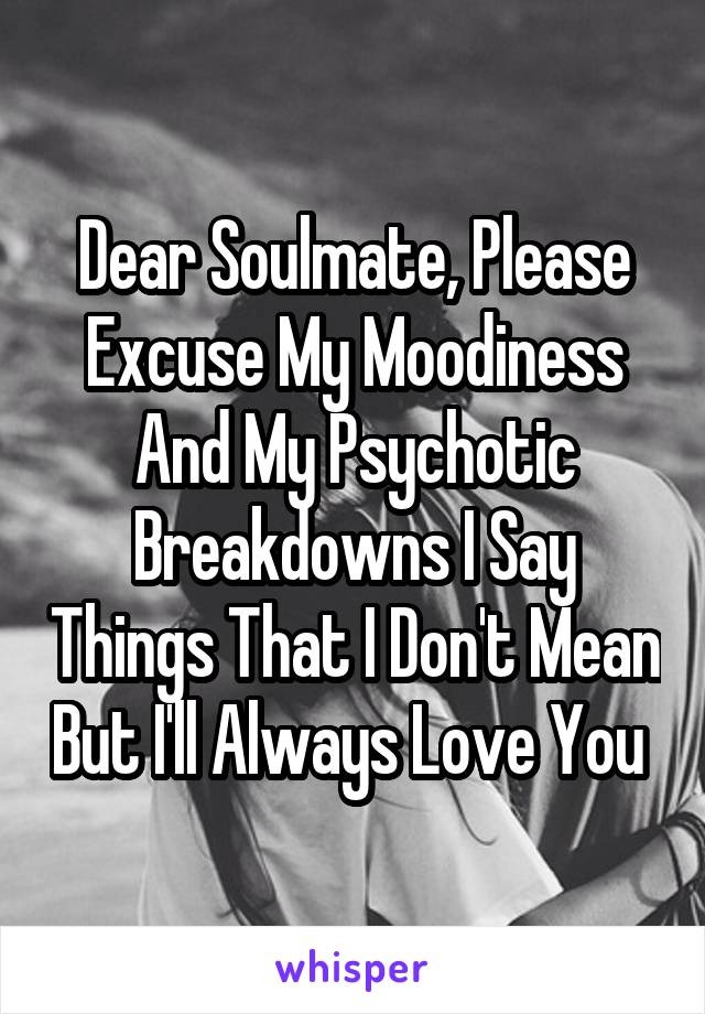 Dear Soulmate, Please Excuse My Moodiness And My Psychotic Breakdowns I Say Things That I Don't Mean But I'll Always Love You