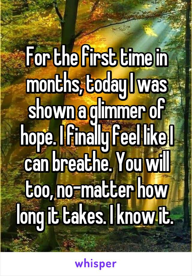 For the first time in months, today I was shown a glimmer of hope. I finally feel like I can breathe. You will too, no-matter how long it takes. I know it.