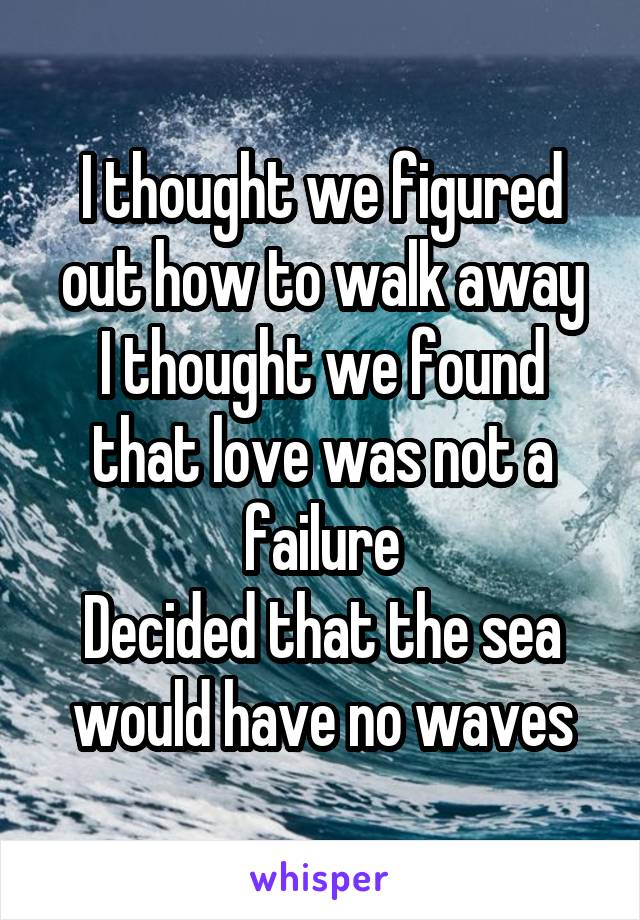 I thought we figured out how to walk away I thought we found that love was not a failure Decided that the sea would have no waves