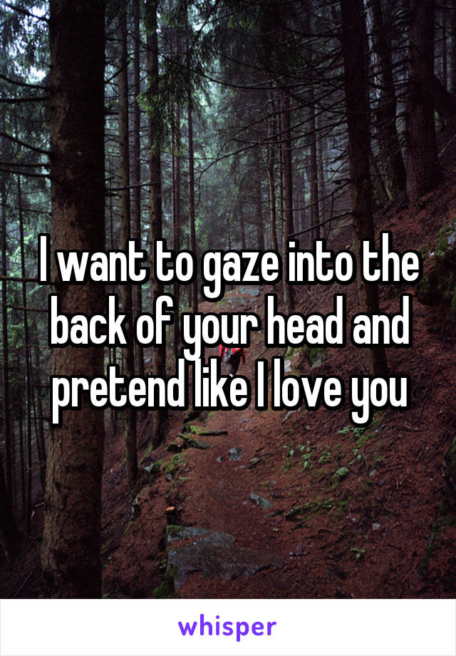 I want to gaze into the back of your head and pretend like I love you