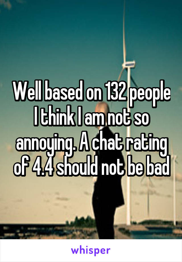 Well based on 132 people I think I am not so annoying. A chat rating of 4.4 should not be bad
