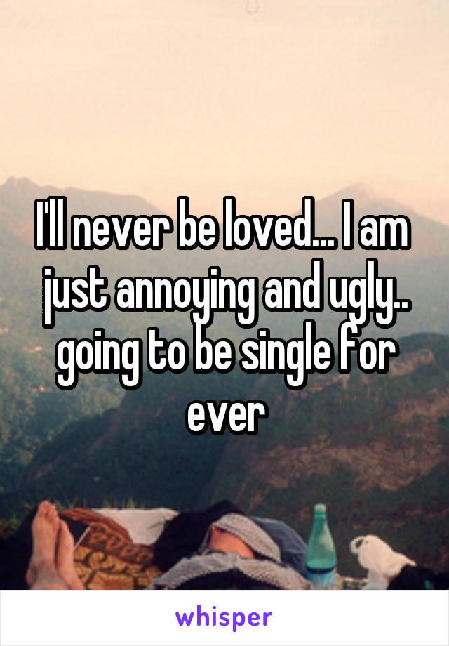 I'll never be loved... I am  just annoying and ugly.. going to be single for ever