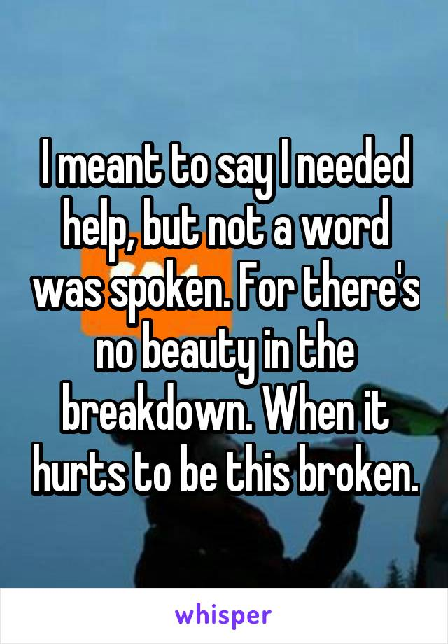 I meant to say I needed help, but not a word was spoken. For there's no beauty in the breakdown. When it hurts to be this broken.