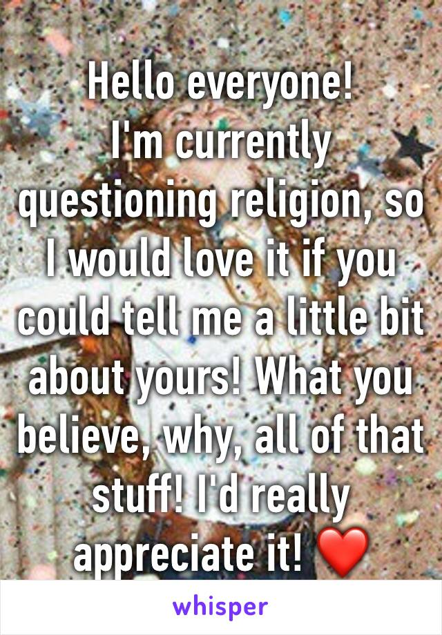 Hello everyone! I'm currently questioning religion, so I would love it if you could tell me a little bit about yours! What you believe, why, all of that stuff! I'd really appreciate it! ❤