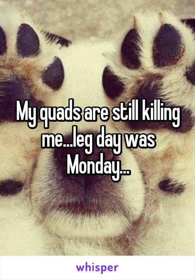 My quads are still killing me...leg day was Monday...