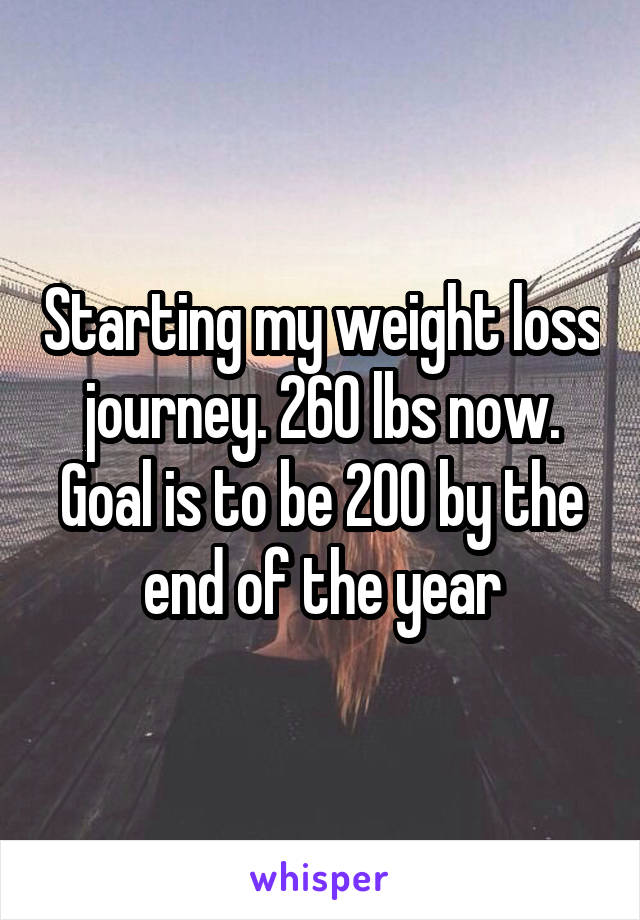 Starting my weight loss journey. 260 lbs now. Goal is to be 200 by the end of the year