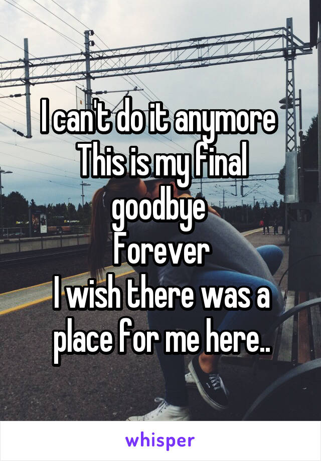 I can't do it anymore  This is my final goodbye  Forever I wish there was a place for me here..