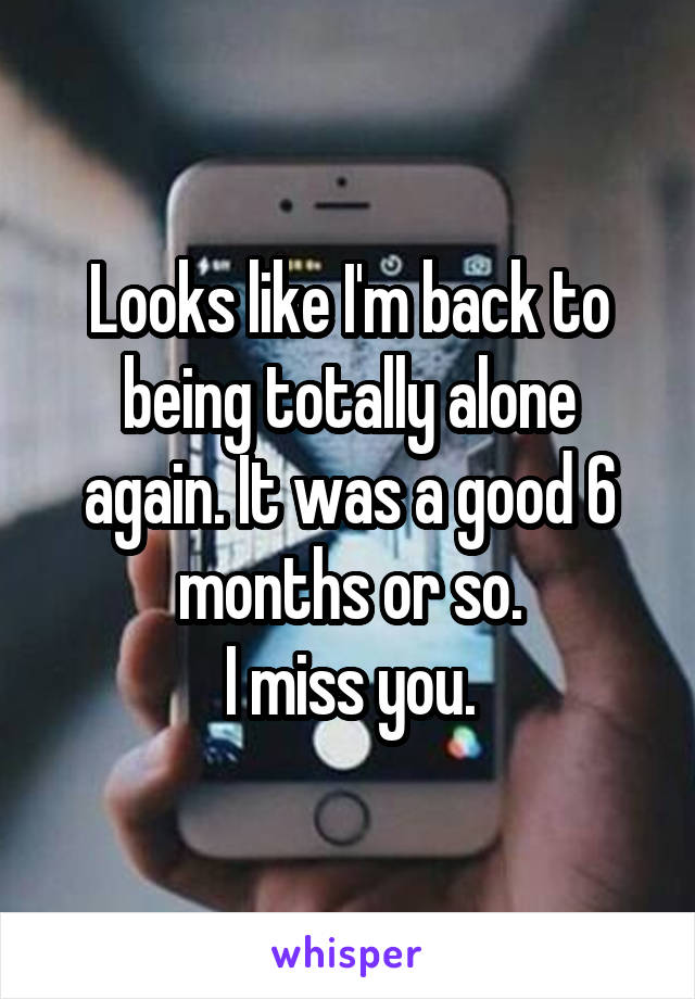 Looks like I'm back to being totally alone again. It was a good 6 months or so. I miss you.