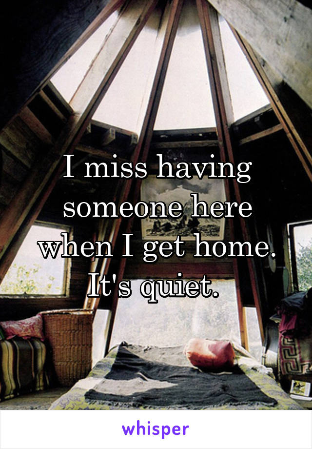 I miss having someone here when I get home. It's quiet.