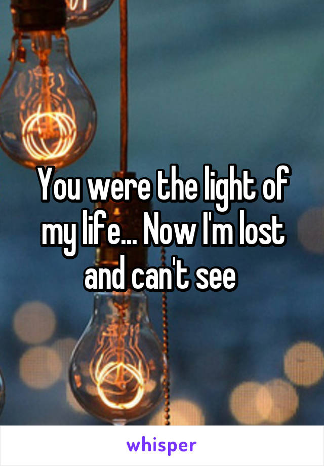 You were the light of my life... Now I'm lost and can't see